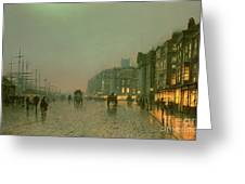 Liverpool Docks From Wapping Greeting Card by John Atkinson Grimshaw