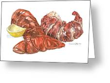 Lobster Tail And Meat Greeting Card by Dominic White
