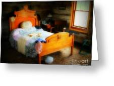 Log Cabin Bedroom Greeting Card by Perry Webster