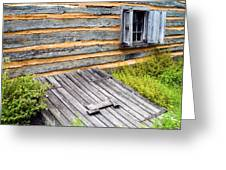 Log Cabin Storm Cellar Door Greeting Card by Paul W Faust -  Impressions of Light