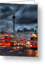 London Red Buses Greeting Card by Jasna Buncic