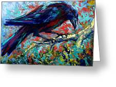Lone Raven Greeting Card by Marion Rose
