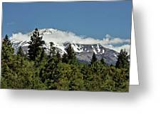 Lonely As God And White As A Winter Moon - Mount Shasta California Greeting Card by Christine Till