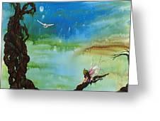 Lonesome Fairy Greeting Card by Deborah Ellingwood