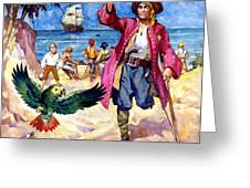 Long John Silver And His Parrot Greeting Card by James McConnell