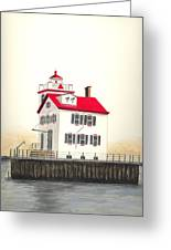 Lorain Lighthouse Greeting Card by Michael Vigliotti
