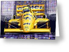 Lotus 99t Spa 1987 Ayrton Senna Greeting Card by Yuriy  Shevchuk