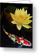 Lotus And Koi- Plant And Animal Painting Greeting Card by Glenn Ledford