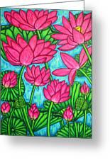 Lotus Bliss Greeting Card by Lisa  Lorenz