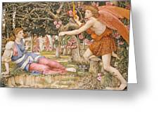 Love And The Maiden Greeting Card by JRS Stanhope