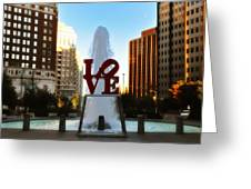 Love Park - Love Conquers All Greeting Card by Bill Cannon