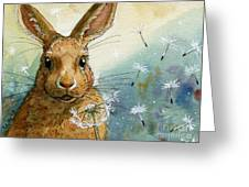 Lovely Rabbits - With Dandelions Greeting Card by Svetlana Ledneva-Schukina