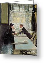 Lovers In A Cafe Greeting Card by Gotthardt Johann Kuehl