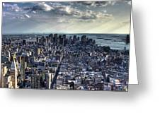 Lower Manhattan From Empire State Building Greeting Card by Joe Paniccia