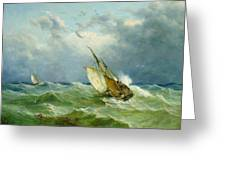 Lowestoft Trawler In Rough Weather Greeting Card by John Moore