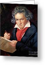 Ludwig Van Beethoven Composing His Missa Solemnis Greeting Card by Joseph Carl Stieler