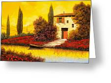 Lungo Il Fiume Tra I Papaveri Greeting Card by Guido Borelli