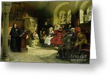 Luther Preaches using his Bible Translation while Imprisoned at Wartburg Greeting Card by Hugo Vogel