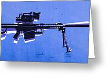 M82 Sniper Rifle On Blue Greeting Card by Michael Tompsett