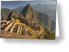 Machu Picchu At Dawn Near Cuzco Peru Greeting Card by Colin Monteath