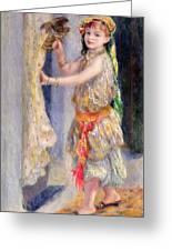 Mademoiselle Fleury In Algerian Costume Greeting Card by Pierre Auguste Renoir