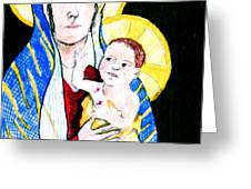 Madonna and Child Greeting Card by Jame Hayes