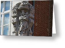 Madonna and Child Statue on the Corner of a House in Bruges Greeting Card by Louise Heusinkveld