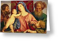 Madonna of the Cherries with Joseph Greeting Card by Titian