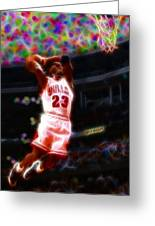 Magical Michael Jordan White Jersey Greeting Card by Paul Van Scott