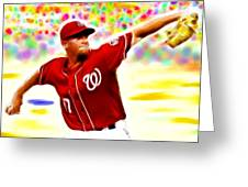 Magical Stephen Strasburg Greeting Card by Paul Van Scott