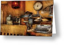Mailman - In The Office Greeting Card by Mike Savad