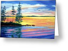 Maine Evening Song Greeting Card by Laura Tasheiko