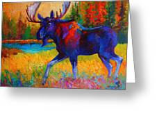 Majestic Monarch - Moose Greeting Card by Marion Rose