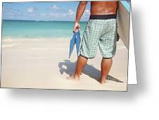 Male Bodyboarder Greeting Card by Brandon Tabiolo - Printscapes