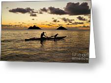 Man And Dog In Canoe Greeting Card by Dana Edmunds - Printscapes