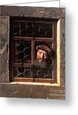 Man At A Window Greeting Card by Samuel van Hoogstraten