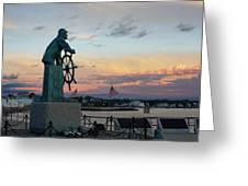 Man At The Wheel At Sunset Greeting Card by Matthew Green