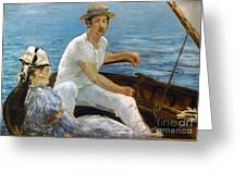 Manet: On A Boat, 1874 Greeting Card by Granger