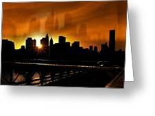 Manhattan Silhouette Greeting Card by Svetlana Sewell