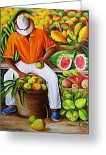 Manuel The Caribbean Fruit Vendor  Greeting Card by Dominica Alcantara