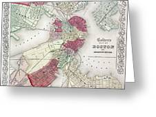MAP: BOSTON, 1865 Greeting Card by Granger