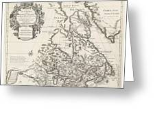 Map Of Canada Or New France Greeting Card by Guillaume Delisle