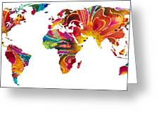 Map Of The World 2 -colorful Abstract Art Greeting Card by Sharon Cummings