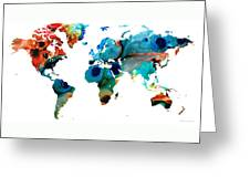 Map of The World 6 -Colorful Abstract Art Greeting Card by Sharon Cummings