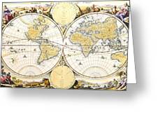 Map Of The World Greeting Card by Daniel Stoopendaal