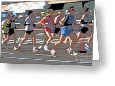 Marathon Runners II Greeting Card by Clarence Holmes