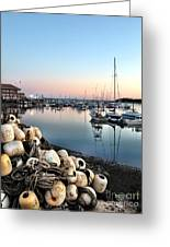 Marina Sunset Greeting Card by Extrospection Art