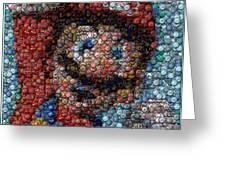 Mario Bottle Cap Mosaic Greeting Card by Paul Van Scott