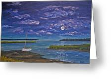 Marsh Moon Greeting Card by Stanton Allaben