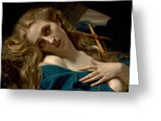 Mary Magdalene In The Cave Greeting Card by Hugues Merle